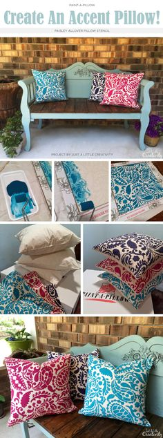 Cutting Edge Stencils shares DIY accent pillows in springtime hues using the Paisley Paint-A-Pillow. http://paintapillow.com/index.php/paisleys-paint-a-pillow-kit.html