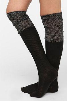 Metallic Cuff Thigh-High Sock