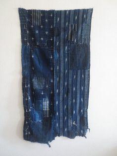Antique Japanese Indigo Boro Textile Large Heavy by Mujostore $300