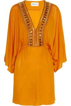 Bead-embellished stretch-crepe kaftan