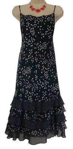 XL X-LARGE SEXY Womens BLACK & WHITE POLKA DOT CHIFFON SUNDRESS Summer Party #VoirVoir #Sundress #Summer