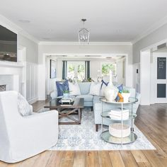 View from the  || one story open concept #lookingin #greatroom #openconcept #newhome #coastaltransitional #lightandbright #interiordesign #bwd #onestory #clientshorecliffs...