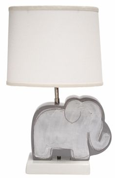 Grey Elephant Character Personalized Ceramic Figure Lamp