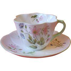 Shelley 13977 Wild Anemone Cup and Saucer Dainty Shape Green Trim Fine Bone China England