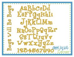 """Boys Will Be Boys Embroidery Font - Sizes available: 1""""/ 1.5""""/ 2""""/ 2.5""""/ 3"""" 3.5""""/ 4"""""""