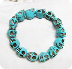 blue Turquoise skull bracelet-------- Day of the death. $5.50, via Etsy.