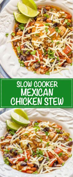 Slow cooker Mexican chicken stew is easy to prep and smells amazing as it cooks! It's perfect for a comforting, flavorful family dinner!   www.familyfoodonthetable.com