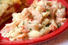 Seafood Pasta Salad - Made from crab, crawfish and shrimp, dressed with a Creole seasoned buttermilk mayonnaise blend.
