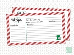 Printable Christmas and Holiday Recipe Card: Instant Download