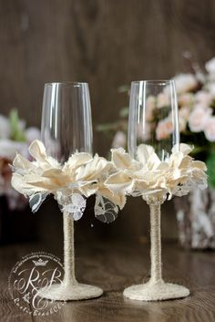 IVORY & WHITE Wedding Champagne Glasses Vintage Chicburlap flowerslace handmade flower vintage inspiration RusticIvory wedding2pcs