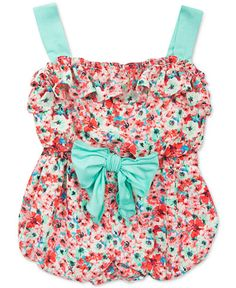 Rare Editions makes sure that she's both cute and comfortable with this charming floral-print romper, complete with bright turquoise details that add lovely pops of color.   Cotton/polyester/spandex  