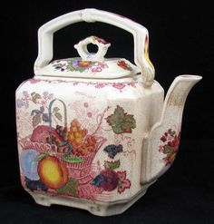 """Mason's Colorful #Transferware """"Fruit Basket"""" Teapot www.rubylane.com --- Add to your vintage and antique collections with great finds from www.rubylane.com #rubylane"""