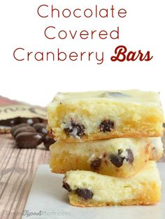 Chocolate Covered Cranberry Bars Recipe #LoveDoveFruits #ad