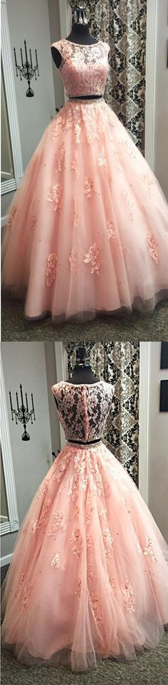 Blush Pink Lace Ball Gowns Quinceanera Dresses Two Piece