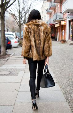 fur and all black #winteroutfit #furcoat