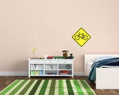 These bicycle sign wall decals are perfect for bike enthusiasts of all ages! They are made of a polyester fabric and are easy to apply, repositionable, removable and do not leave a residue.