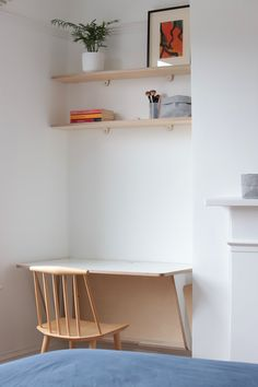 Plywood Bookcase, Plywood Furniture, Upcycled Furniture, Diy Furniture, Alcove Storage, Wall Mounted Table, Folding Desk, White Laminate, Home Office Space