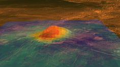 Idunn Mons, a mountain on Venus. This thermal view shows it's hotter than it should be, meaning Venus may still be geologically active! Credit: NASA/JPL-Caltech/ESA