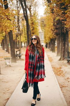 I need those kitty flats! Clever play on the pea coat and plaid scarf. A good fall and even winter outfit