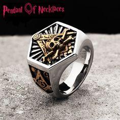 Hexagon Masonic Ring For Men - Masonic Totem Jewelry Fashion Bracelets, Fashion Jewelry, Masonic Jewelry, Masonic Art, Masonic Lodge, Masonic Symbols, Gold Chains For Men, Skull Jewelry, Fine Jewelry