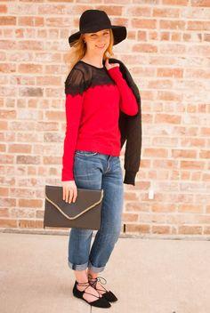 red lace sweater // current elliott boyfriend jeans // lace up flats // envelope clutch // black hat // Cheers J