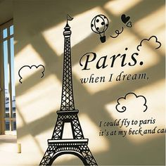 wall stickers home decor living room PVC Poster Paris Eiffel Tower Removable Vinyl Art Decal Mural Home Room Wall Sticker