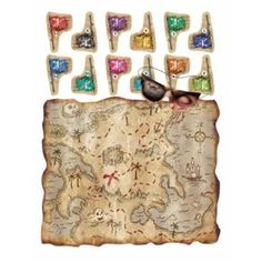 $1.43  Pirate Treasure Map Party Game..The Pirate Treasure Map Party Game includes comes with one 17.5 inch by 19.5 inch treasure map, one blindfold mask, and 12 pirate flags.
