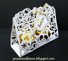 DETAILED FLORAL THINLITS WEDDING GUEST THANK YOU GIFT BOX BY STAMPIN UP