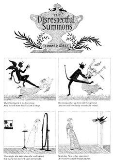 "whimpering-pines: "" The Disrespectful Summons by Edward Gorey "" Edward Gorey, Creepy Nursery Rhymes, Illustrations, Illustration Art, Up Book, Book Nerd, Goth Art, Halloween Art, Macabre"