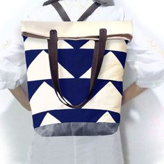 Convertible Tote, Backpack w/ Leather Straps - Bunting Triangle Navy - product images of Canvas Backpack, Tote Backpack, Convertible Backpack, Waxed Canvas, Bunting, Triangle, Backpacks, Navy, Mothers