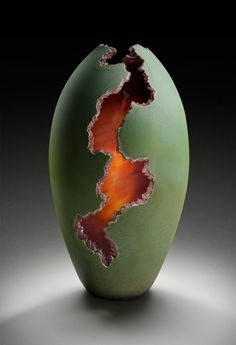 """wasbella102: """" Lava Flow by Robert Coby of Cleveland Blown Glass """" Pottery Art, Ceramic Pottery, Ceramic Clay, Glass Ceramic, Glass Vase, Sculpture Art, Sculptures Céramiques, Blown Glass, Vase Deco"""