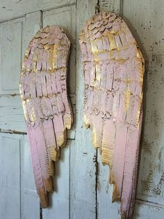 Wooden angel wings wall hanging pink w/ gold wood metal shabby cottage chic…