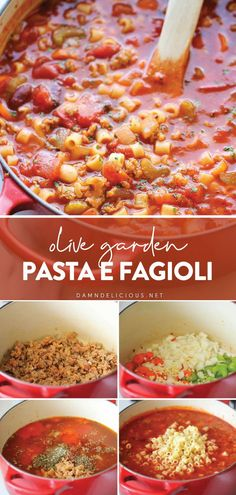 A super easy copycat soup recipe that tastes so much better than the restaurant version! This comfort food recipe is fuss-free, perfect for busy weeknights. If you're looking for a quick and easy dinner idea for tonight, try making this Olive Garden Fagioli soup! Easy Pasta Recipes, Light Recipes, Soup Recipes, Cooking Recipes, Healthy Recipes, Italian Soup, Italian Recipes, Pasta E Fagioli, Easy Weeknight Meals