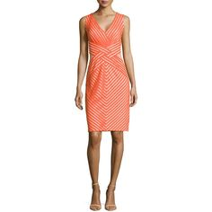 Tadashi Shoji Sleeveless Cocktail Dress with Mesh Accents ($122) ❤ liked on Polyvore featuring dresses, saffron, sleeveless v neck dress, criss cross dress, red dress, straight dress and red sleeveless dress