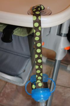 Green Dot Sippy Strap with Sucton Cup by ChunksBabyJunk, $9.00