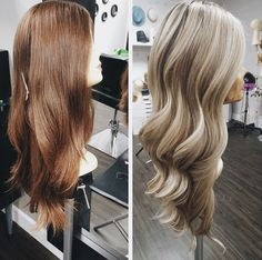 """Our professional stylist majorly transformed our Milano long wig style """"LL16"""" from a brown/red hair color blend to a bright and dimensional blonde! Gorgeous!"""