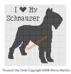 I got a request from one of my friends over at Crochetville for a Schnauzer graph. I was very happy to make this for her as I am very fond . Crochet Cross, Thread Crochet, Filet Crochet, Crochet Afghans, Cross Stitch Charts, Cross Stitch Embroidery, Cross Stitch Patterns, Vintage Crochet Patterns, Knitting Patterns