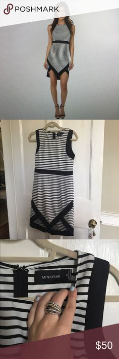 Minkpink Hide Seek Mini Dress Sleeveless dress with pointed hemline and round neck. Fitted style mini dress features a striped design throughout with contrast, solid trim. 95% polyester, 25% cotton. Gently worn for work. Open to offers since I have a new job and no longer need this  MINKPINK Dresses
