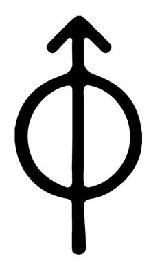 Astronomical Mars moon Phobos symbol. The symbols for them are based on the lower-case versions of the Greek letters Phi and Delta, which begin those two names in the original Greek, with the arrow from Mars's symbol added on.
