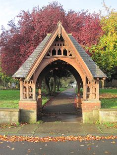 St Cuthbert's lych gate, Billingham Timber Gates, Wooden Gates, Beam Structure, St Cuthbert, English Cottage Style, Wooden Architecture, Backyard Projects, Entrance, Sunday School