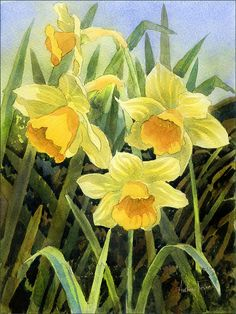 Daffodils Acrylic Print by Anthony Forster. All acrylic prints are professionally printed, packaged, and shipped within 3 - 4 business days and delivered ready-to-hang on your wall. Choose from multiple sizes and mounting options. Easy Watercolor, Watercolour Painting, Watercolor Flowers, Watercolors, Spring Painting, Spring Art, Art Floral, Flower Canvas, Flower Art