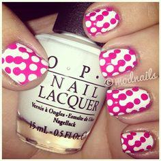 Pink  White Polka Dots #beauty #nails