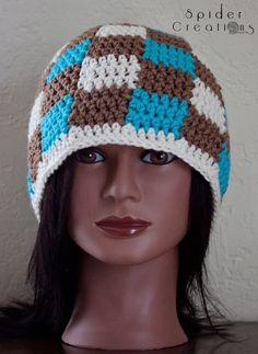 Turquoise, Brown, and Cream Gingham/Plaid Beanie Hat. $18.00, via Etsy.