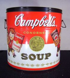 Vtg 1997 Advertising Campbells Soup Kids Large Tin Can Bucket Container Handles