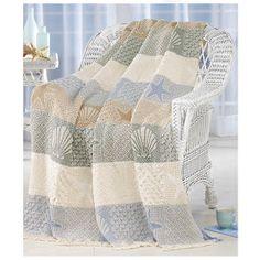 Seashells throw, woven poly/cotton, machine wash. 46x60 $39.00 expressions catalog.com