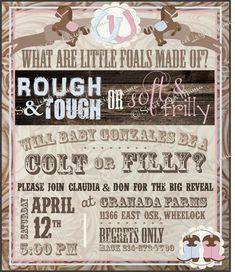 Colt or Filly Gender Reveal Invitation  Western Theme Cowgirl or Cowboy Gender reveal party new baby