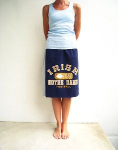 Notre Dame Football T Shirt Skirt / Navy Blue Gold Gray / by ohzie