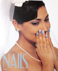 Blue Nails Manicure Wedding Veil NAILS Salon Poster Print - $1