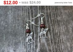 Wolf Earrings. Howling At The Moon: Silver Wolf by WoodlandMarket
