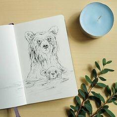 Moleskine ink drawings of bear and her cub by Raahat Kaduji. https://www.instagram.com/p/BIsdwlTBOOy/